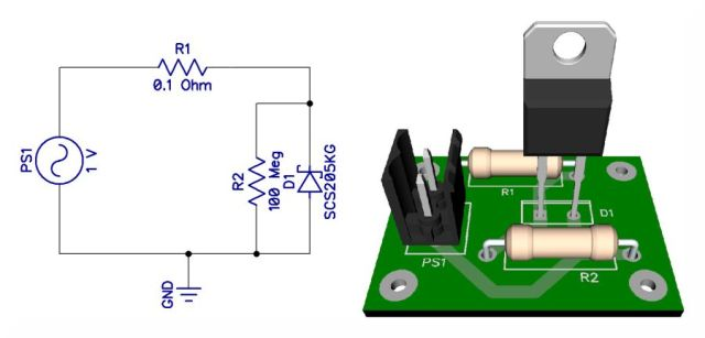 Test schematic to test the capacitive reactance of the SiC diode